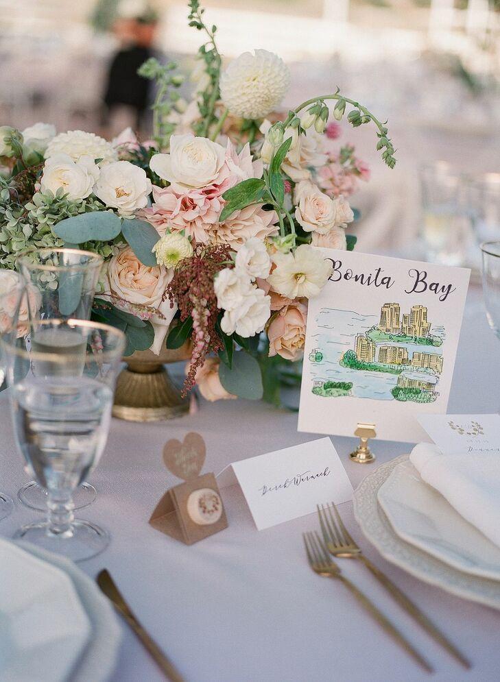 Romantic Place Setting for Wedding at Saddlerock Ranch in Malibu, California