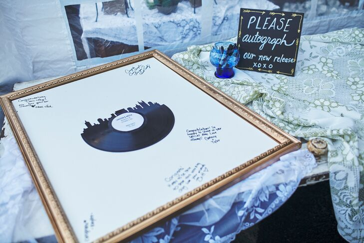 Rather than have a traditional guest book, Angela and Cameron (who are both big music lovers) had guests sign a record album.