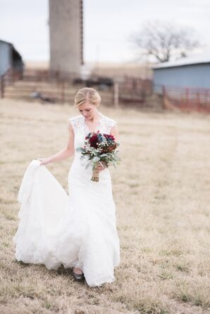 Lace Wedding Dress at Christman Manor in Oskaloosa, Kansas