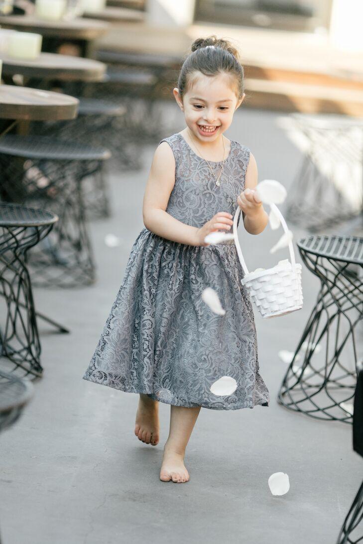 Gray Flower Girl Dress with White Flower Basket