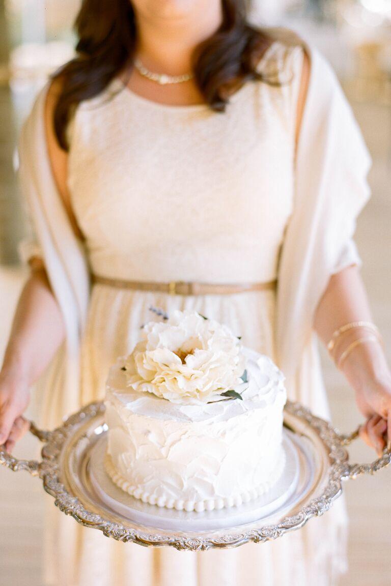 White floral tier wedding cake