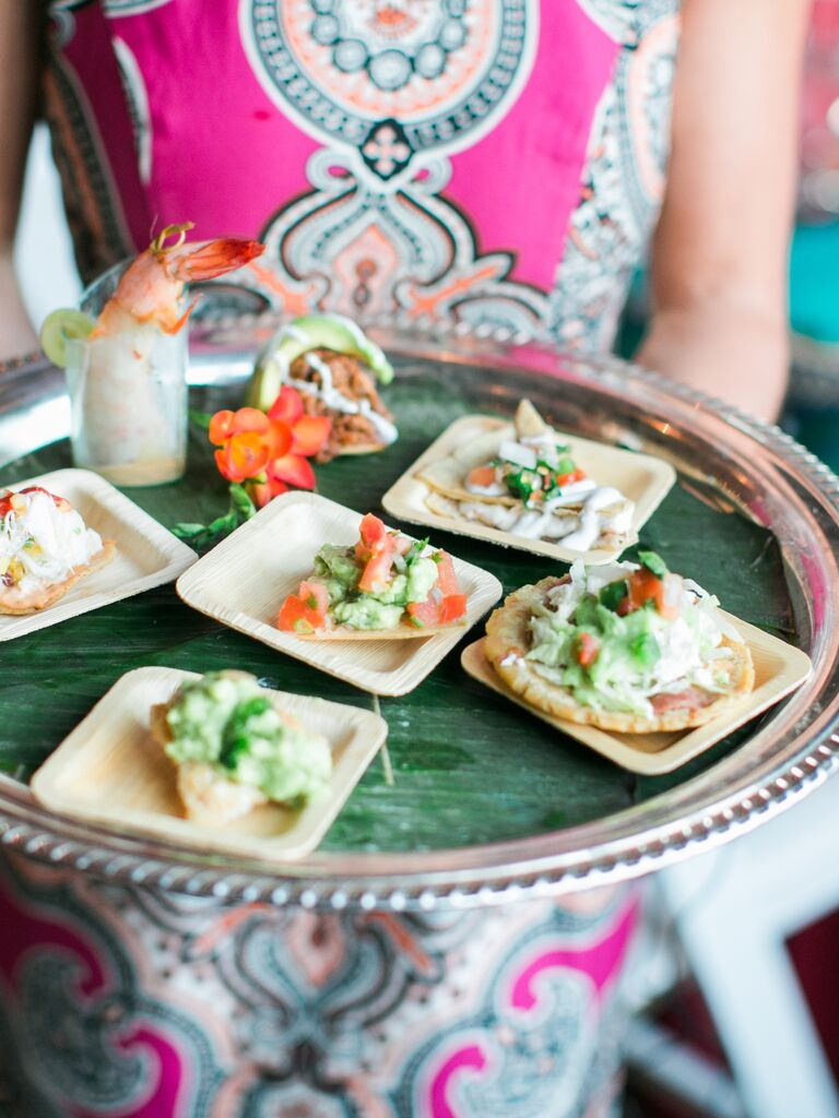 Mini sopes, quesadillas and tostadas appetizers for a fiesta wedding reception