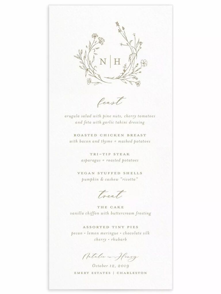 Monogram with wreath graphic and elegant brown calligraphy on white background