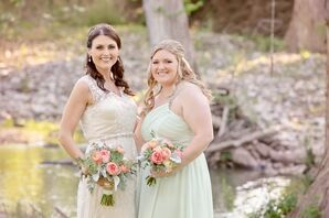 Peach and Mint Garden Rose and Succulent Bouquets