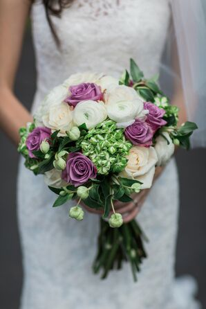 White Ranunculus Bouquet With Lavender Roses