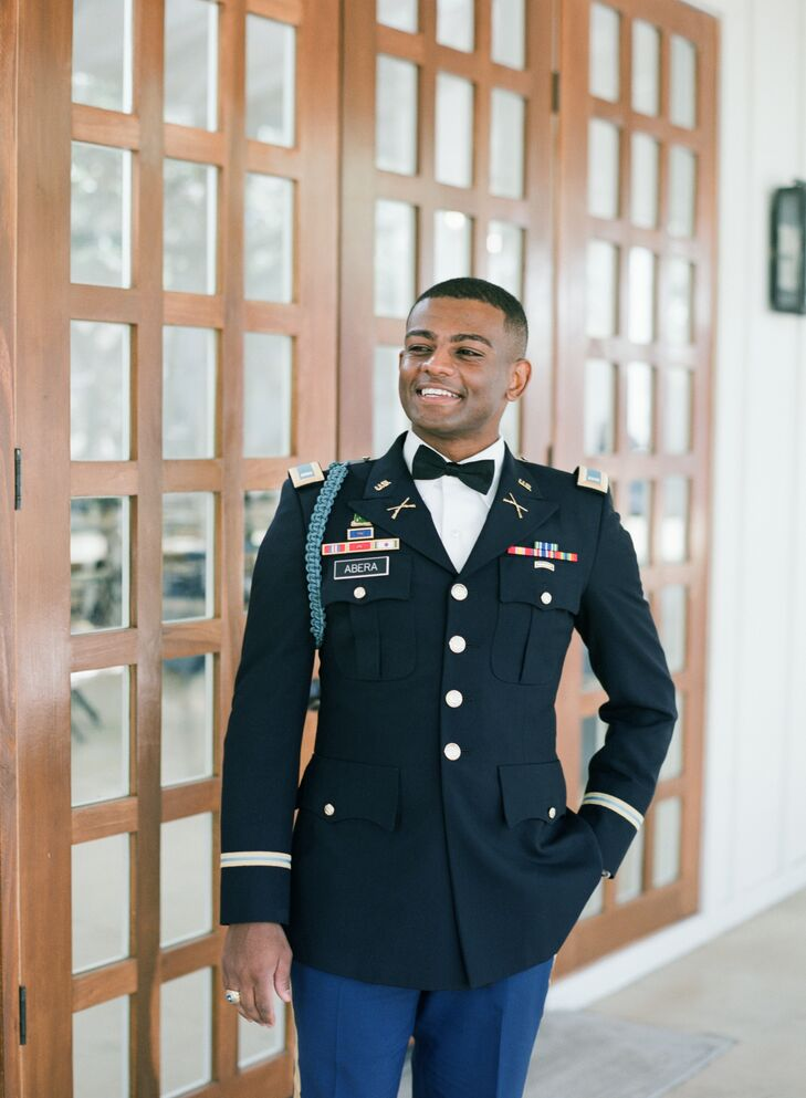 Groom in Military Uniform for Wedding at The Ivory Oak in Wimberley, Texas
