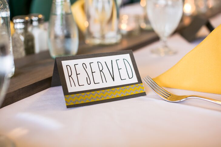 Gray and Yellow Reserved Paper Sign