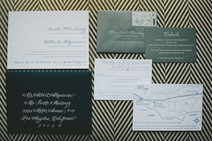 """""""A lot of our elements, including the invitations, menus and signs, featured clean, modern lines with rustic, more traditional elements, like letterpress and handwritten calligraphy mixed in,"""" Ivette says. Copper Paper Willow Studio created a custom map for the couple to include in their suite, providing guests with directions on how to find the Bacara Resort. Silver envelopes and gray and blue lettering gave the stationery a contemporary cool vibe."""