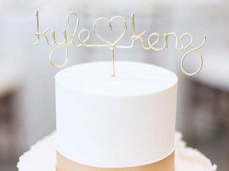 Gold wire personalized couple's names with heart in between