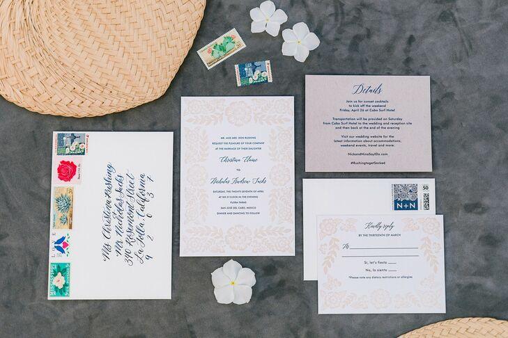 Elegant Invitation Suite with Blue Calligraphy