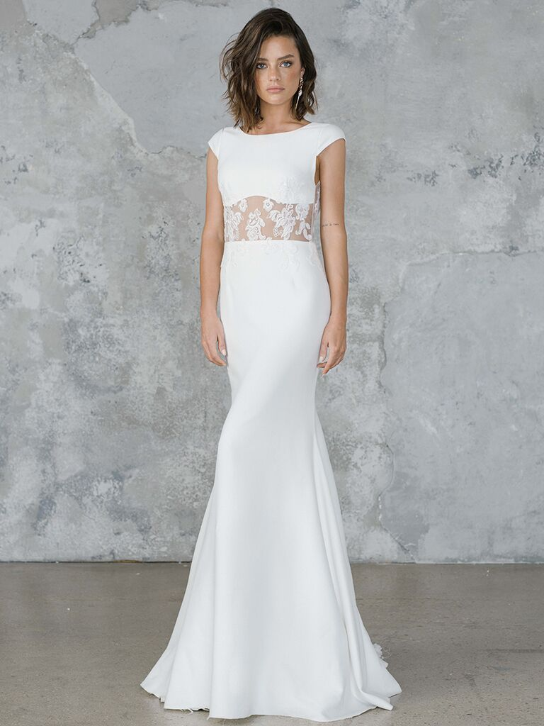 Rime Arodaky fitted dress with lace cutout and cap sleeves