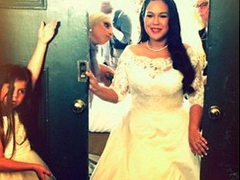 Lady Gaga stands near her best friend on her wedding day