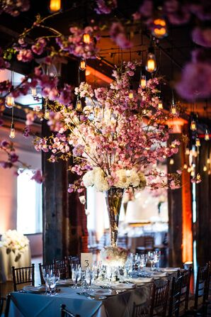 Tall Cherry Blossom Centerpieces and Edison Lights