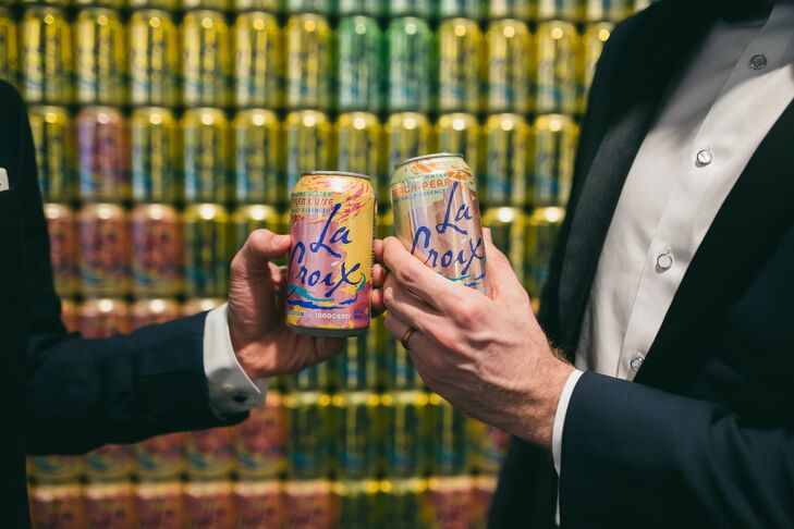 La Croix Cans of Sparkling Water at Wedding at Ovation in Chicago, Illinois