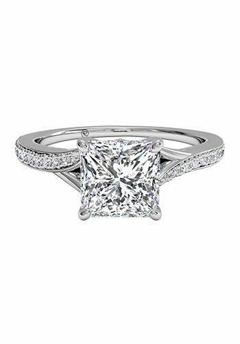 ritani princess cut engagement ring with modern bypass