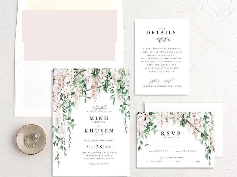 Pretty floral greenery blush, green and white invitation suite