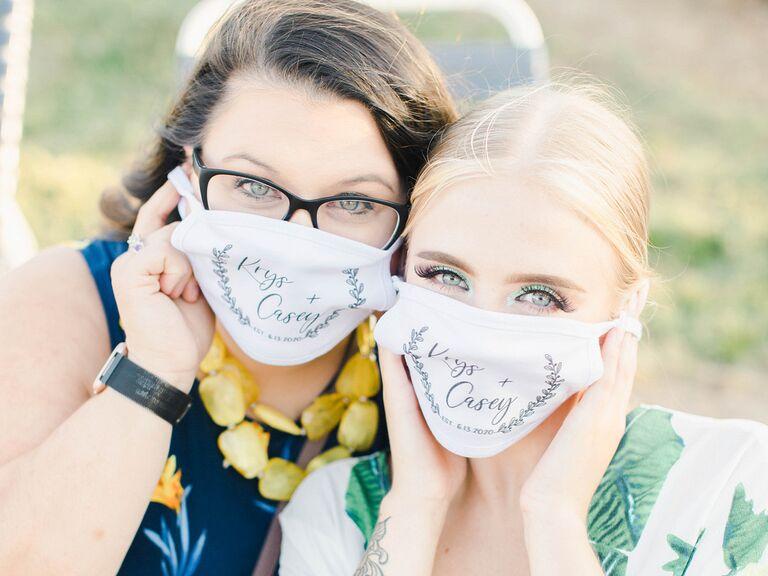 Guests wearing face masks at wedding