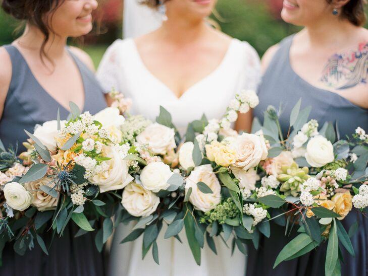 Romantic Blush Garden Rose and Eucalyptus Bouquets