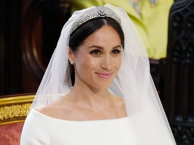 Meghan, Duchess of Sussex wearing Queen Mary's diamond bandeau tiara