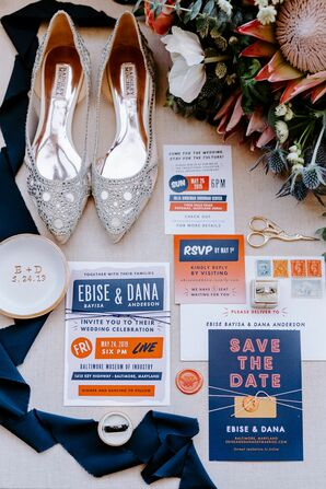 Blue-and-Orange Invitation Suite for Wedding at the Baltimore Museum of Industry in Baltimore, Maryland