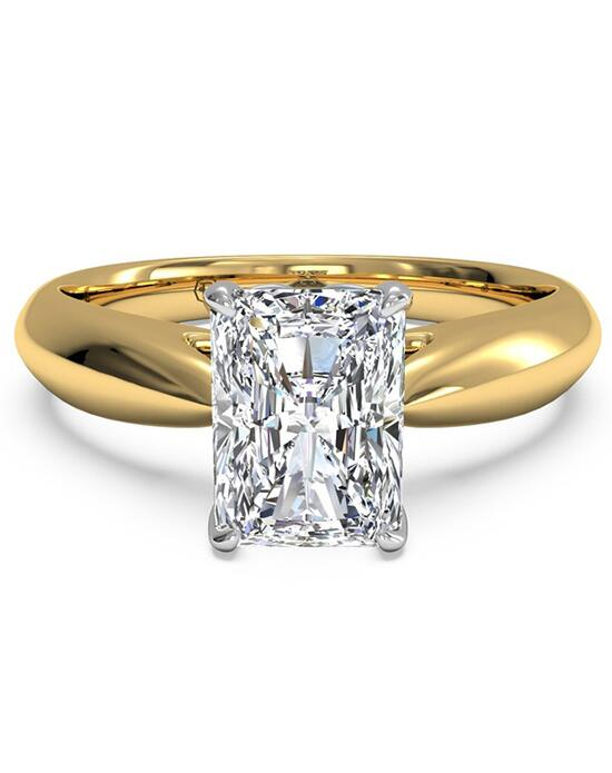 Ritani Solitaire Diamond Cathedral Tapered Engagement Ring - in 18kt Yellow Gold for a Radiant Center Stone Engagement Ring photo