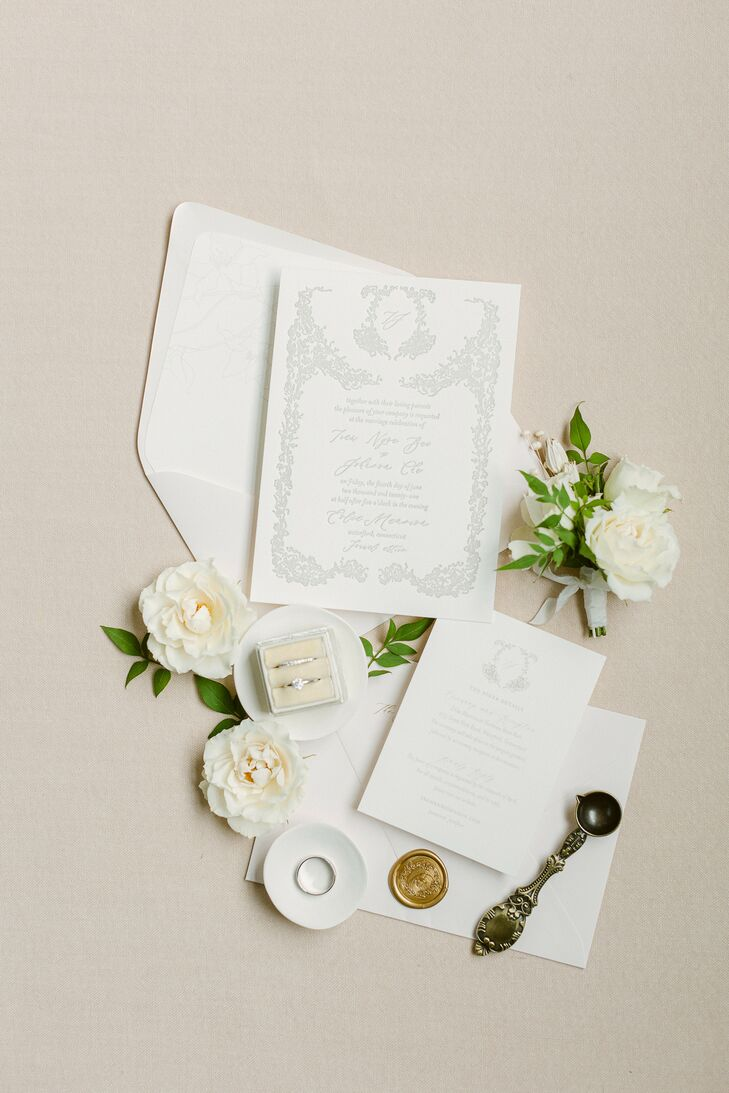 Formal Ivory Invitation Suite for Wedding at Eolia Mansion in Waterford, Connecticut