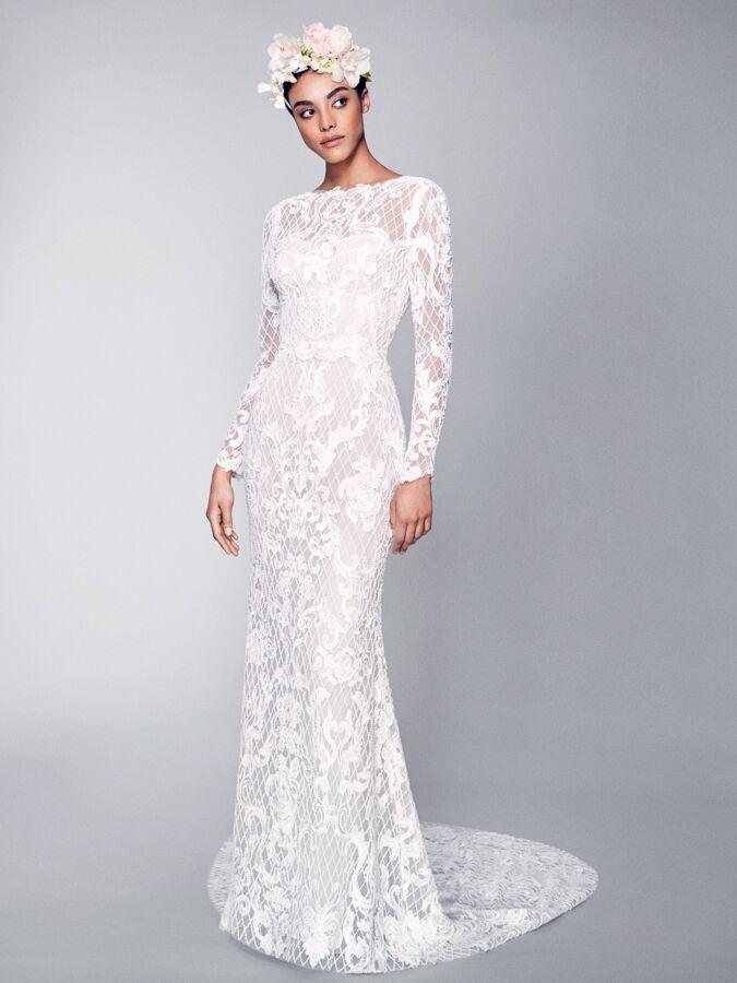 Marchesa lace long sleeve wedding dress