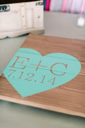 Personalized Mint Heart Wedding Decoration