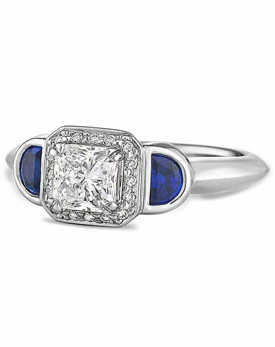 Ritani Three-Stone Diamond Halo and Half-Moon Sapphire Engagement Ring in Platinum (0.83 CTW) Engagement Ring photo