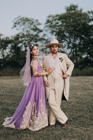 Bride and Groom in Purple, White and Cream Wedding Attire