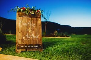 Wooden Wedding Sign With Gold and Floral Details