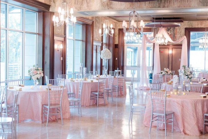Blush-and-Silver Ballroom Reception Decor at Harborside East in Charleston, South Carolina