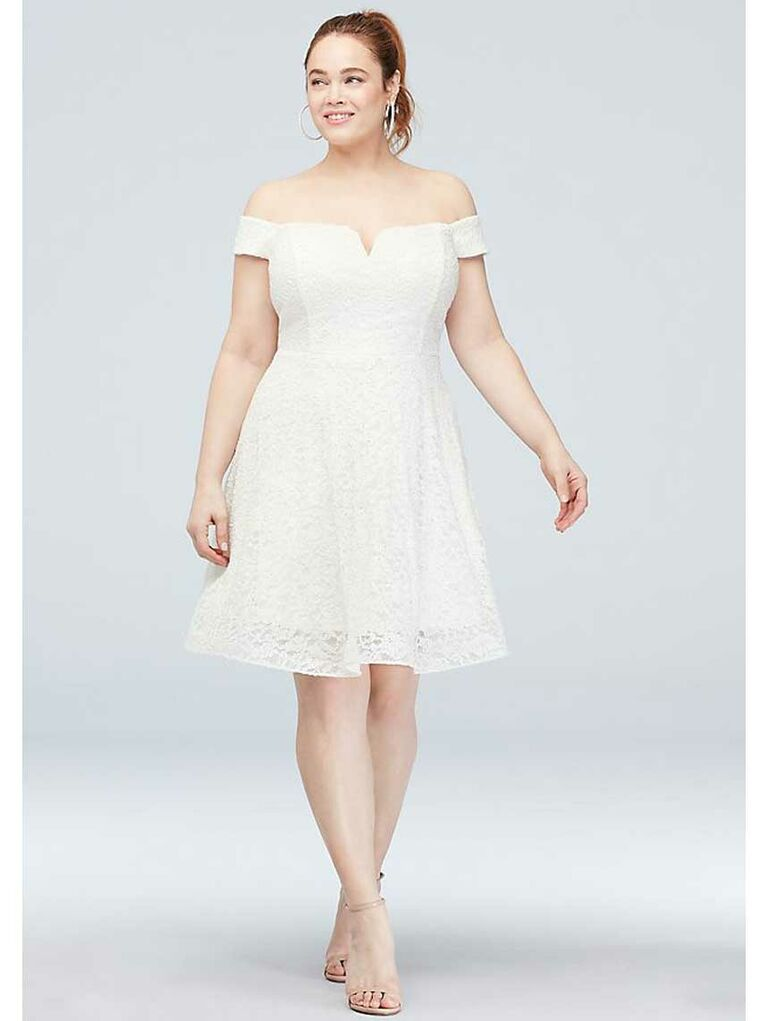 Short simple lace wedding dress with off-the-shoulder neckline and skater skirt