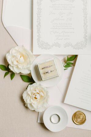 Rings in Ivory Velvet Ring Box