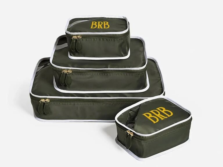 Packing cubes with monogram gift for boyfriend/girlfriend's parents