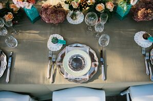 Vintage Green and Floral Reception Decor