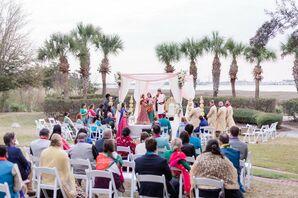 Indian Wedding Ceremony With Mandap Along Charleston, South Carolina, Waterfront
