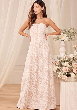 Lulus Hold My Heart Forever White Embroidered Strapless Maxi Dress A-Line Wedding Dress