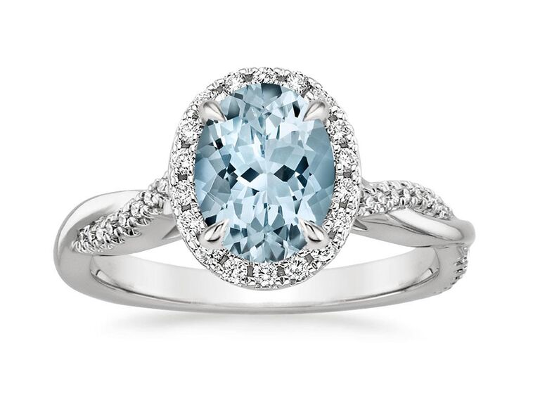 brilliant earth oval aquamarine engagement ring with diamonds and white gold twisted band