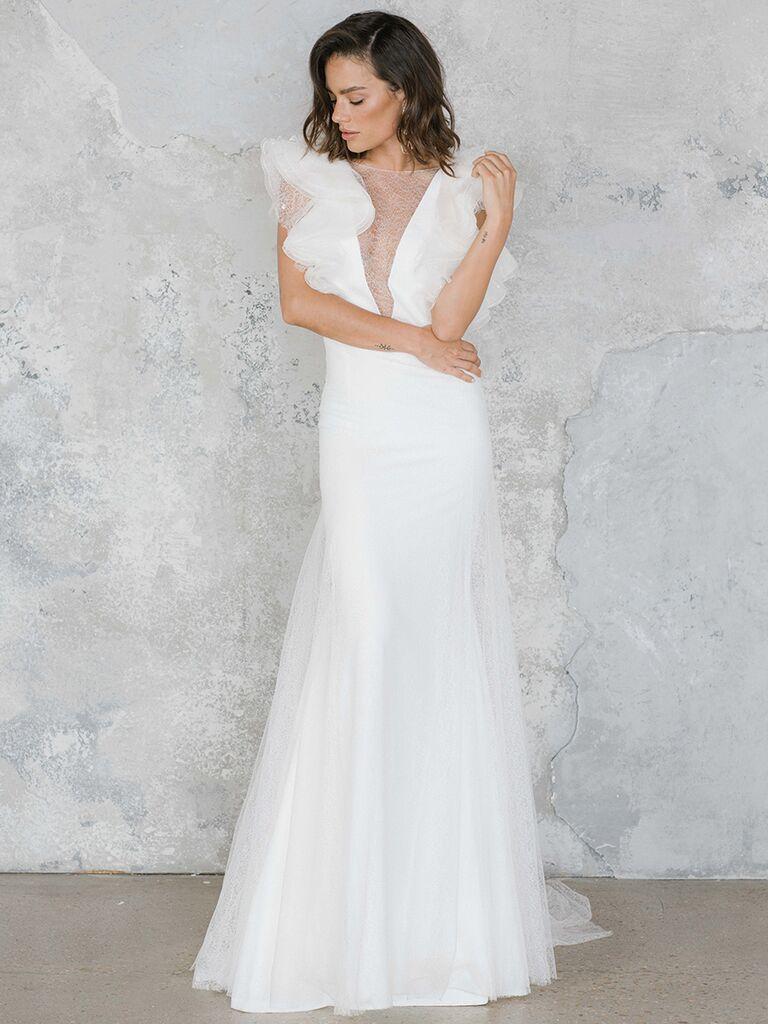 Rime Arodaky dress with deep V-neck and ruffled sleeves
