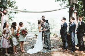 Fabric Draped Between Trees at Ceremony