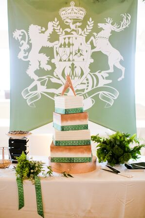 Square Wedding Cake and Custom Cake Table Banner