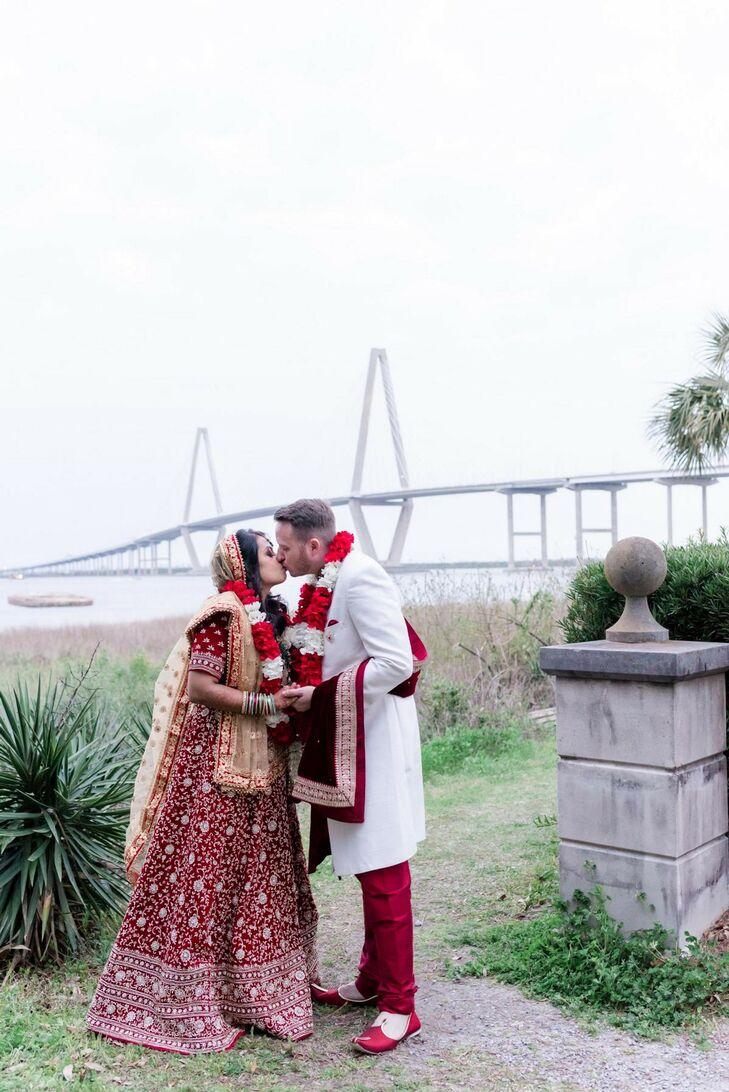 Couple Sharing Kiss in Front of Ravenel Bridge in Charleston, South Carolina