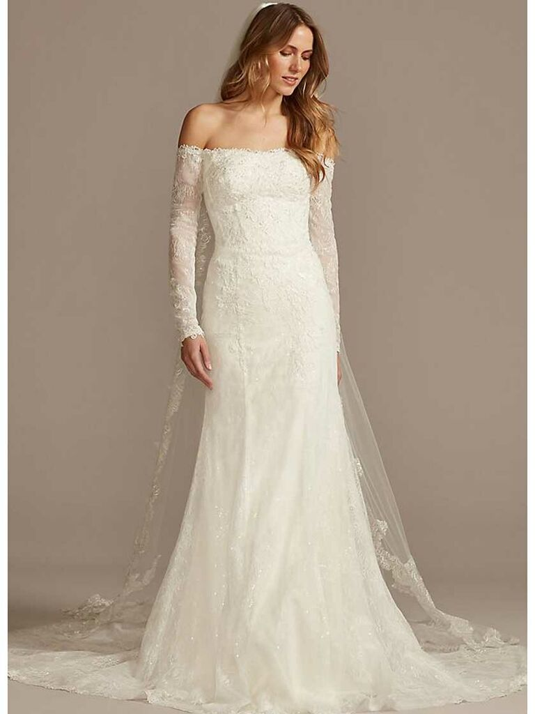 Simple off-the-shoulder wedding dress with lace sleeves