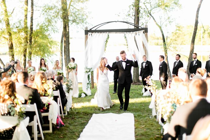Bride and Groom Recessional at Lakeside Ceremony