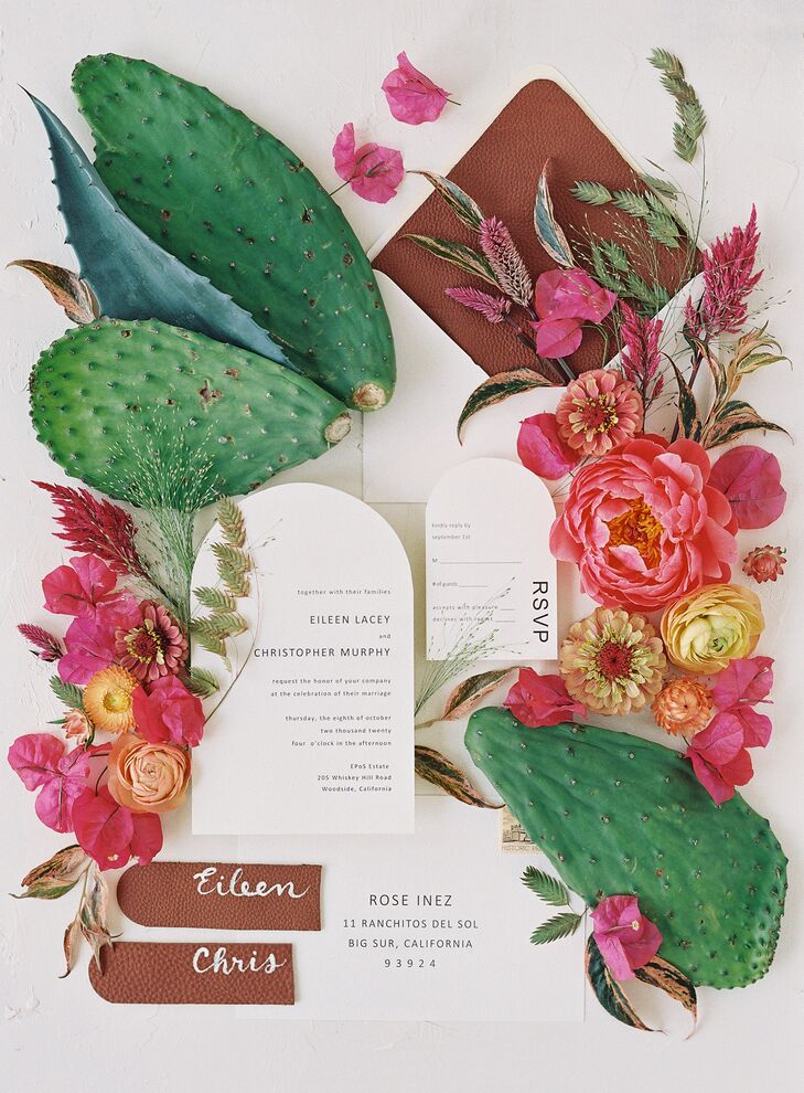 Modern Curved Invitation Suite Styled With Cacti and Bougainvillea