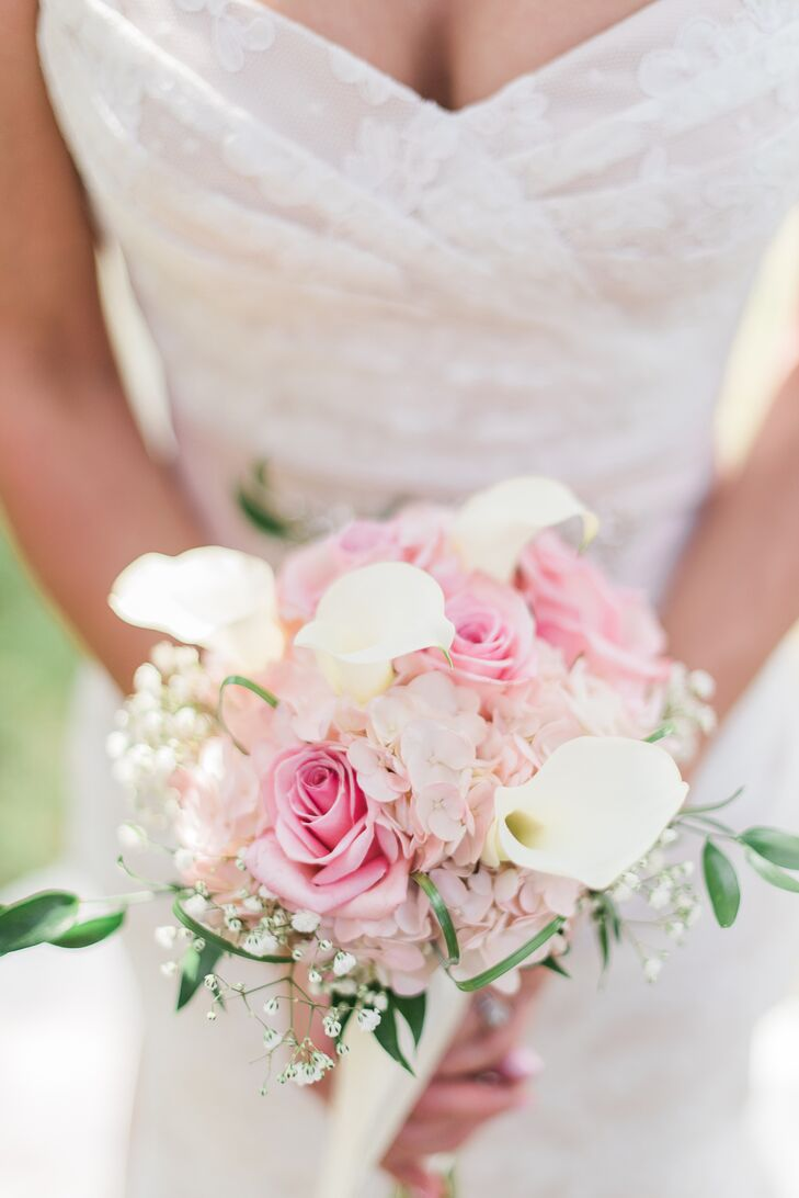 Pink Rose and White Lily Bridal Bouquet