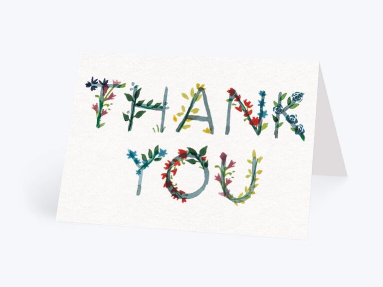 Floral colorful Thank You bridal shower card