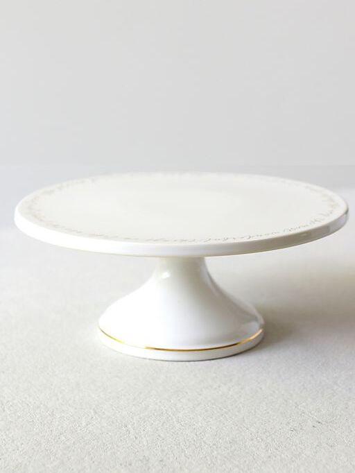 David's Bridal gilded trim ceramic cake stan