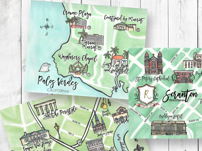 Custom illustrated map with event venues